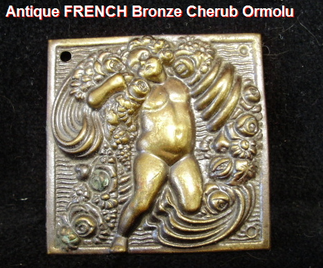 FRENCH 19thc Antique BRONZE Furniture Ormolu W Cherub ANGEL ROSES-aacherub