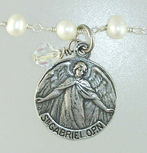Silver Saint GABRIEL Angel Charm Freshwater PEARL Necklace Swarovski CRYSYAL-17sp-26
