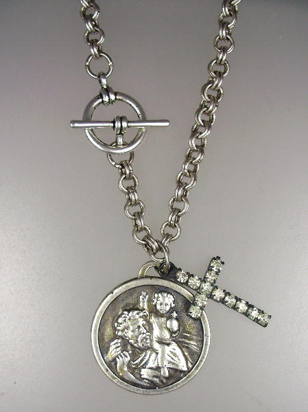 Religious ANTIQUE Style Sterling Silverplated SAINT CHRISTOPHER Miraculous MARY Medal Necklace Rhinestone CROSS-18c6-p33r