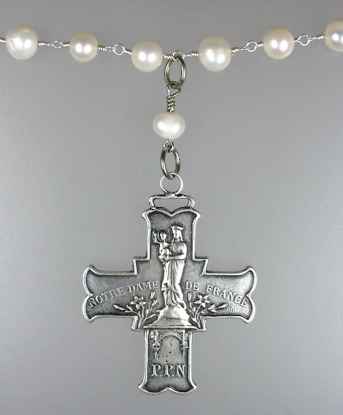 Religious Silver FRENCH CROSS Medal NOTRE DAME de France PUY Pilgrimage PEARLS-21sp172