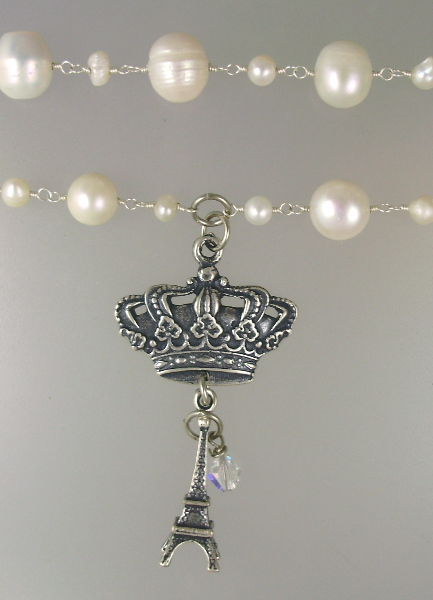 Antique Style Sterling Silver-plated EIFFEL Tower CROWN Medal Freshwater PEARLS NECKLACE Crystal-36pt-p160-154