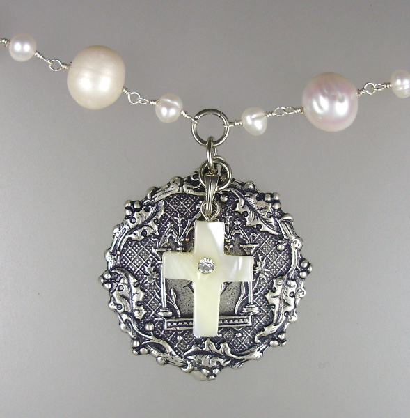 FRENCH Pearl NECKLACE Silver Antique LUTECE PARIS Twin Birth Medal Charm Mother of Pearl CROSS-36pt-50m