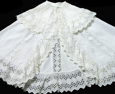 Antique Victorian FRENCH White Linen Pique HAND Embroidered WHITEWORK Baby Doll Cape-circape