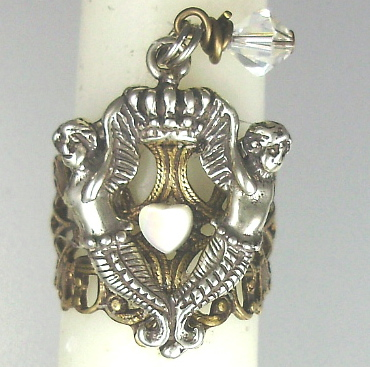 1 Size Ornate Filigree Brass RING with SILVER Mermaid Crown CHARM Mother of PEARL HEART Swarovski Crystal -r-mer