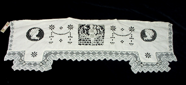 Antique FRENCH Point de NEIGE Needle LACE Linen CUTWORK Runner Dresser Topper FIGURAL-L-3pnl