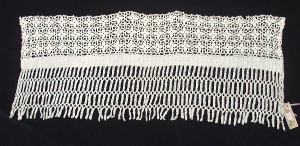Antique FRENCH CROCHET LACE Valance Runner Dresser Topper Mantlepiece TASSELS-L-cro26