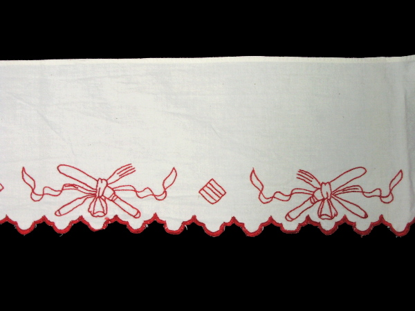 ANTIQUE French RED Hand Embroidered KITCHEN Shelf TRIM Cutlery-L-red