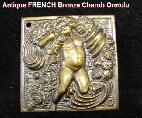 FRENCH 19thc Antique BRONZE Furniture Ormolu W Cherub ANGEL ROSES-aacherub