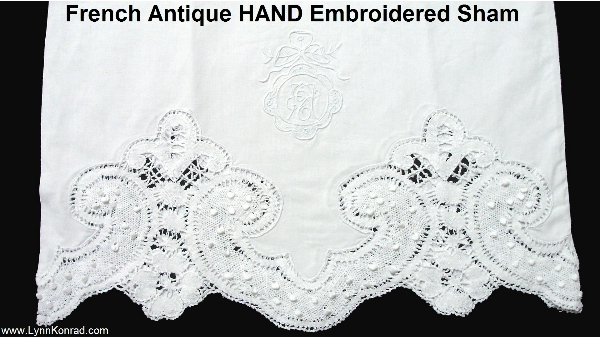 Antique French CLUNY Bobbin Lace White Monogrammed Linen Sham Bolster Cover-asham