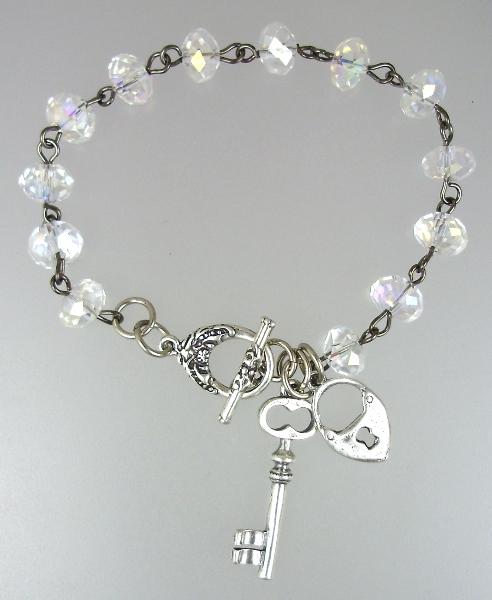 VINTAGE Style Aurora Borealis Crystal BRACELET with STERLING Silver LOCK and KEY-b-1abkl