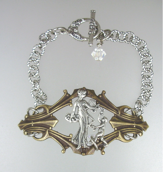 Vintage Style STERLING Silver Brass Art Nouveau Woman Child BRACELET Swarovski Crystals-b-2fig