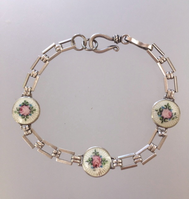 Antique DECO STERLING Silver GUILLOCHE Enamel CHARM BRACELET White w Pink ROSES-b-3ros