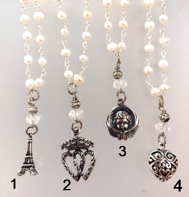 Romantic Freshwater PEARL Charm Bracelet SILVER Charm LUCKENBOOTH Heart ANGEL EIFFEL TOWER-b-4romsk