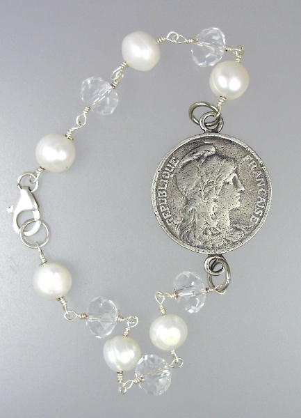 French STERLING Silver MARIANNE Coin Freshwater PEARL Charm BRACELETCrystals-b-5c