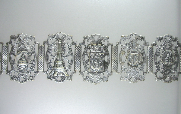 C1920s FRENCH  Silver Souvenir Filigree Bracelet Famous PARIS Monuments Steel Cut EIFFEL Tower-b-6sou