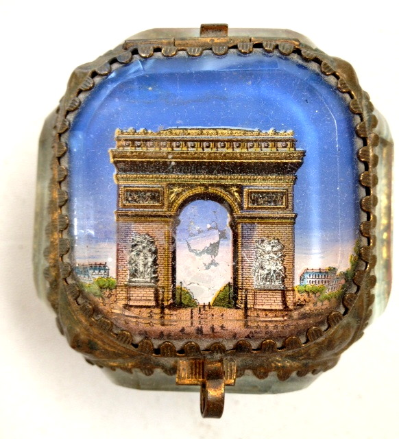 Antique C1880 FRENCH Beveled Glass Jewel Scenic Cask BOX Jewelry w ARC De TRIOMPHE Paris-b-adt