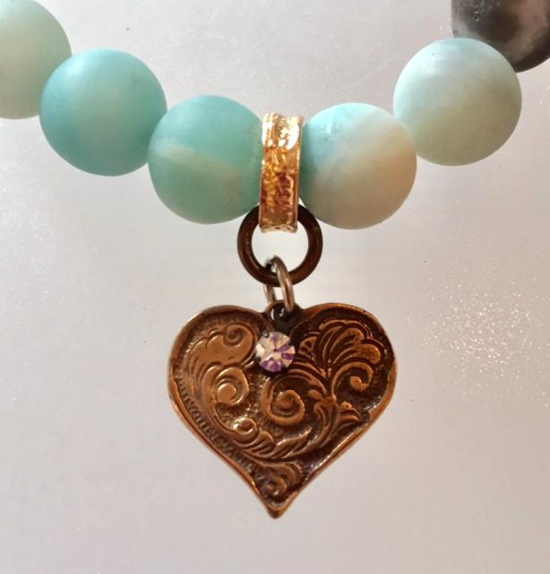 Romantic AMAZONITE Charm Bracelet Bronze HEART Charm-b-amaz