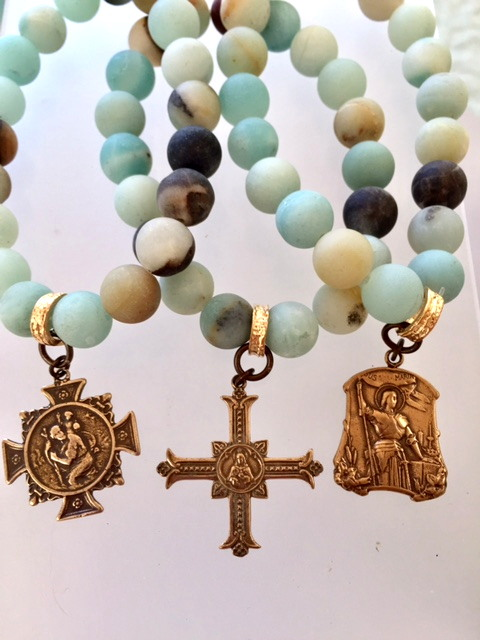 Religious AMAZONITE Charm Bracelet St Christopher St Joan of Arc Gothic Cross Bronze Charm-b-amzrel