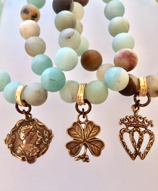 Romantic AMAZONITE Charm Bracelet GOOD LUCK Woman Bronze HEART Charm-b-amzrom