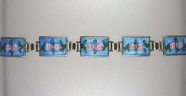 Antique 1920s STERLING Silver GUILLOCHE Enamel CHARM BRACELET Blue PINK ROSES-b-ben