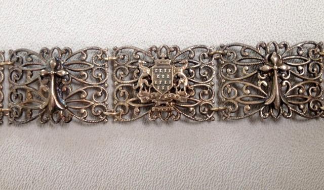 FRENCH Antique BRITTANY Souvenir Link CHARM BRACELET ERMINE Fleur de Lis-b-brit