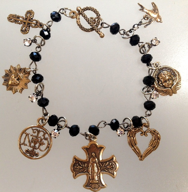 FRENCH Religious Bronze CHARM BRACELET Virgin Mary LOURDES Cross Sacred HEART Angel DOVE-b-bzrel