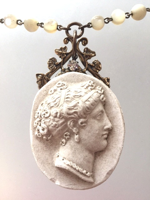 Antique PARIS French Woman CAMEO on Mother of PEARL Antique Beads Necklace-b-camparis
