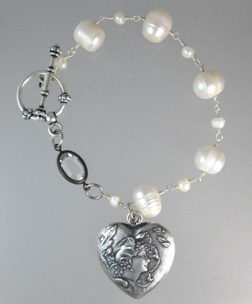Art NOUVEAU Woman HEART Flower PEARL Charm Bracelet Rhinestone-b-ccanf