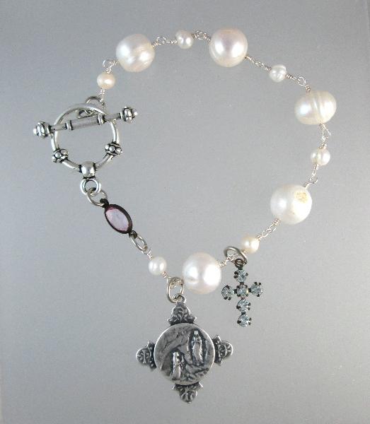 Religious PEARL Bracelet LOURDES St BERNADETTE Charm Rhinestone CROSS-b-cclou