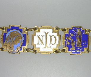 Antique LOURDES Religious Souvenir Link Enamel CHARM BRACELET Virgin MARY-b-elou
