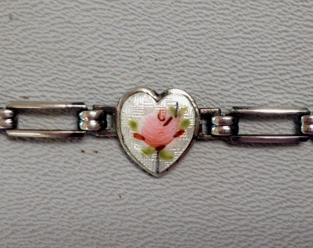 3 HEARTS Antique 1920s STERLING Silver French GUILLOCHE Enamel CHARM BRACELET White w PINK ROSES-b-gui3hrt
