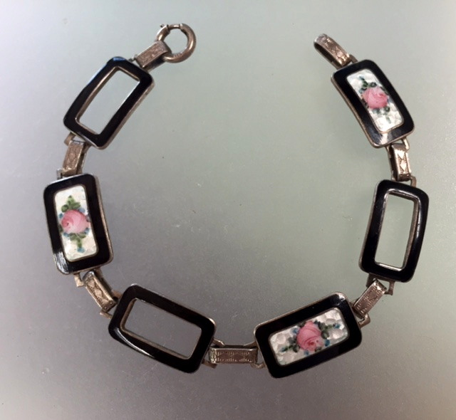 Antique 1920s STERLING Silver GUILLOCHE Enamel CHARM BRACELET BLACK with Pink ROSES-b-gui6blk