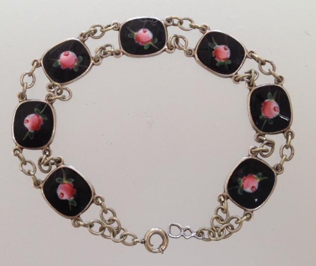 Antique STERLING Silver GUILLOCHE Enamel CHARM BRACELET Black Pink ROSES-b-gui7blk
