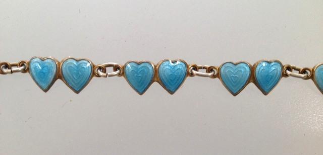 Antique STERLING Silver GUILLOCHE Enamel CHARM Bracelet BLUE HEARTS-b-guiblhrt
