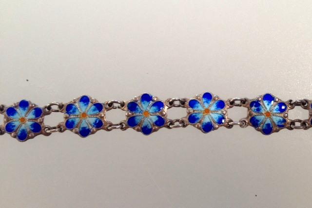Antique STERLING Silver GUILLOCHE Enamel CHARM BRACELET White BLUE Flowers-b-guiblud