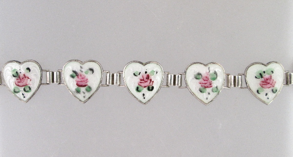 Antique English STERLING Silver GUILLOCHE Enamel HEART CHARM BRACELET White with Pink ROSES-b-guihrt