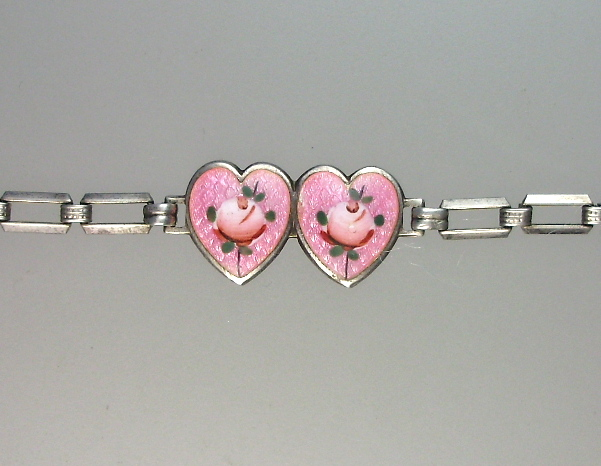 HEART Antique 1920s STERLING Silver French GUILLOCHE Enamel CHARM BRACELET Pink w PINK ROSES-b-guiph