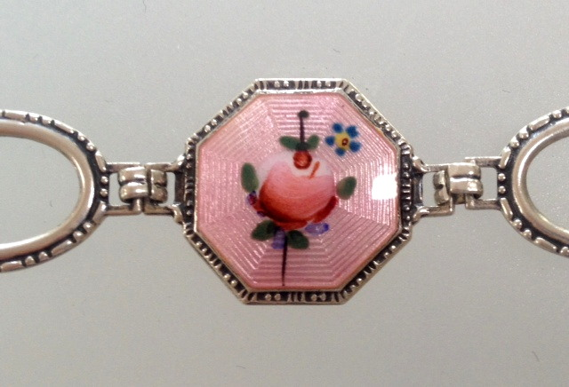 Antique 1920s STERLING Silver GUILLOCHE Enamel CHARM BRACELET Pink ROSES -b-guipkcir