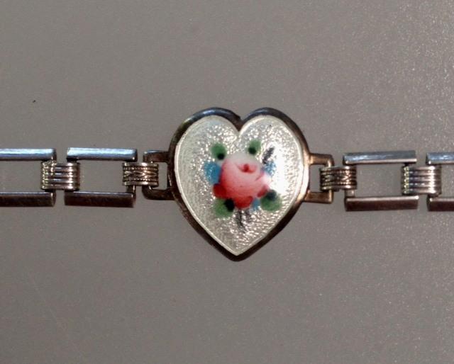 Antique 1920s STERLING Silver GUILLOCHE Enamel HEART CHARM BRACELET White-b-guiwhthrt
