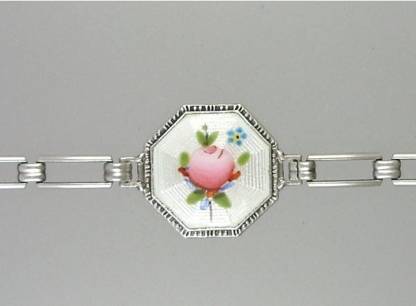 Antique 1920s STERLING Silver GUILLOCHE Enamel CHARM BRACELET White Pink ROSES-b-gwht