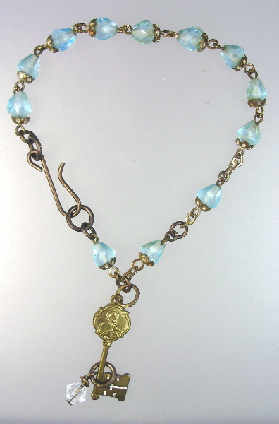Antique FRENCH Religious Turquoise ROSARY Bead Charm BRACELET Italian KEY to HEAVEN-b-kth