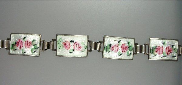 Antique English STERLING Silver GUILLOCHE Enamel CHARM BRACELET White Pink ROSES-b-lbk