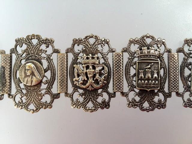 Antique LOURDES Religious Souvenir Link Enamel CHARM BRACELET Virgin MARY-b-loufilx