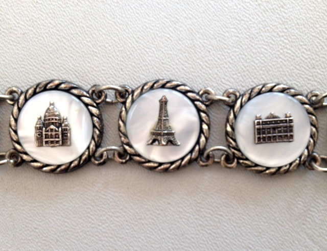 C1940s FRENCH Souvenir Bracelet Mother of PEARL Famous PARIS Monuments-b-mopsou