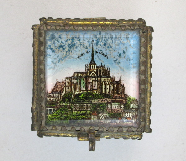 French MONT SAINT MICHEL Antique JEWEL CASK Box C1880 FRENCH Beveled Glass Jewelry Scenic Cask BOX Jewelry-b-msm