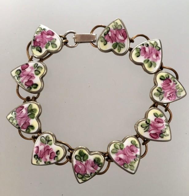 Antique STERLING Silver White HEART Pink ROSES GUILLOCHE Enamel CHARM BRACELET-b-pkhrt