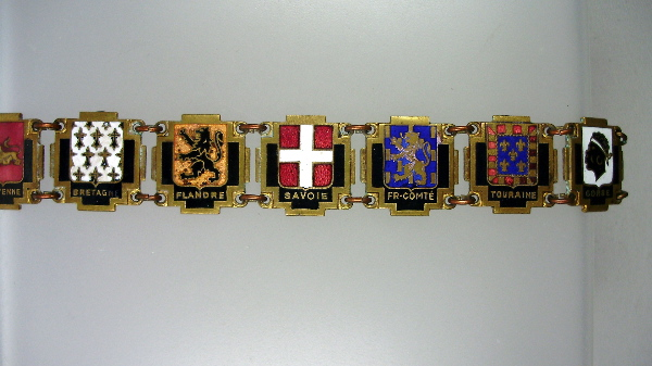 Antique FRENCH PROVINCES Regions Souvenir Link Guilloche Enamel CHARM BRACELET Brittany -b-prov