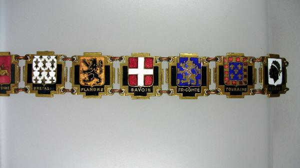 Antique FRENCH PROVINCES Regions Souvenir Link Guilloche Enamel CHARM BRACELET Brittany -b-prov