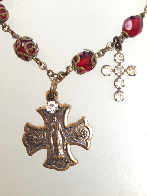 Antique Religious Filigree Capped RED ROSARY Bead BRACELET Cross Bronze LOURDES VIRGIN Mary Medal-b-redx