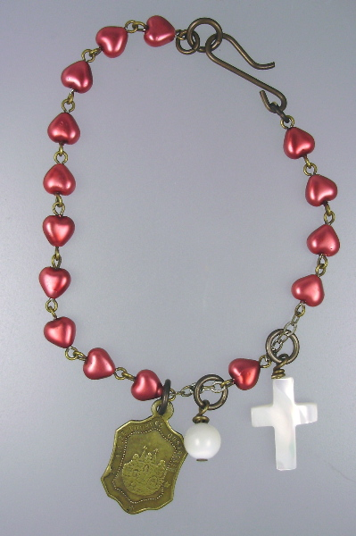 Antique Religious French Heart  ROSARY Bead BRACELETMother of PEARL CROSS Bead LOURDES Medal-b-rhrtv